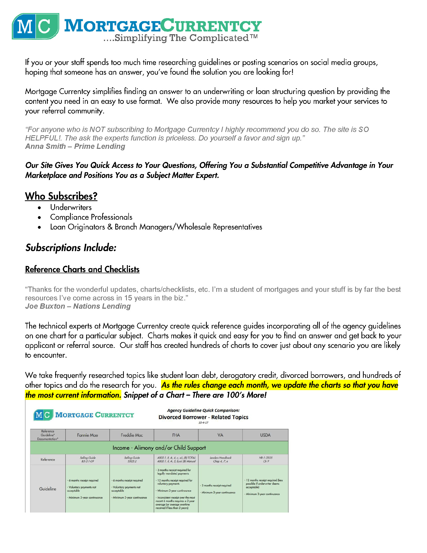 Mortgage Currentcy Overview Page 1